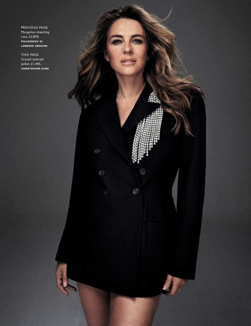 Elizabeth Hurley poses in crystal embellished Christopher Kane jacket
