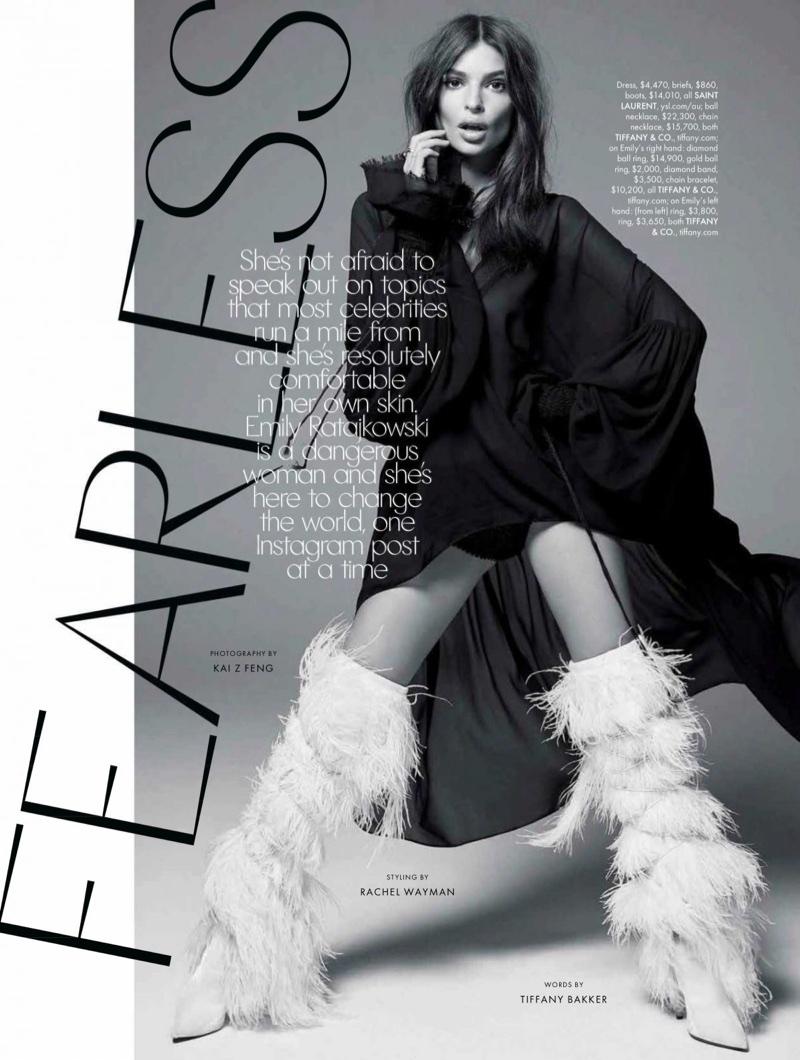 Emily Ratajkowski Models On-Trend Looks for ELLE Australia