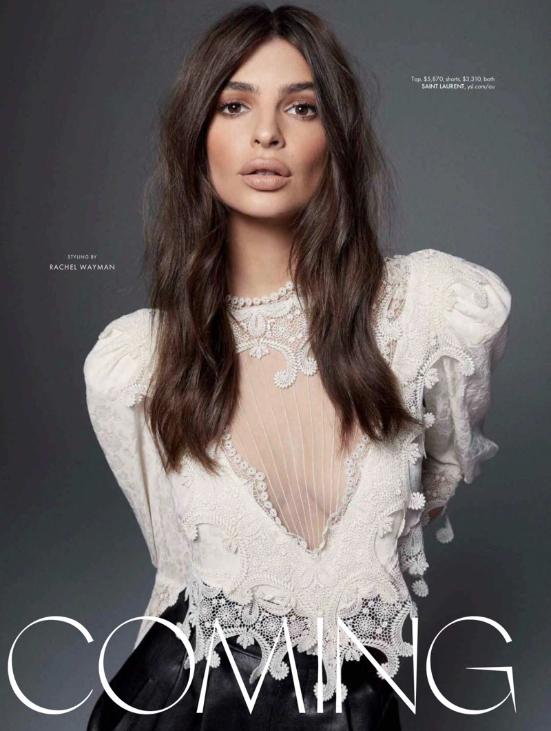 Emily Ratajkowski Models On-Trend Looks for ELLE Australia
