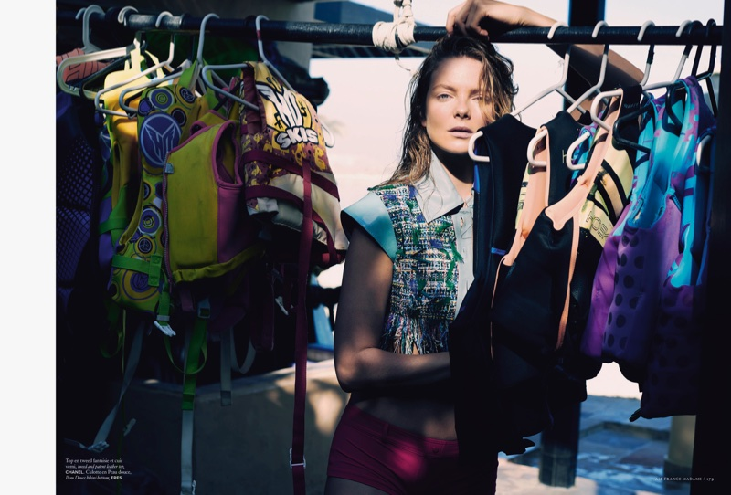 Eniko Mihalik Poses in Beach Season Styles for Air France Madame