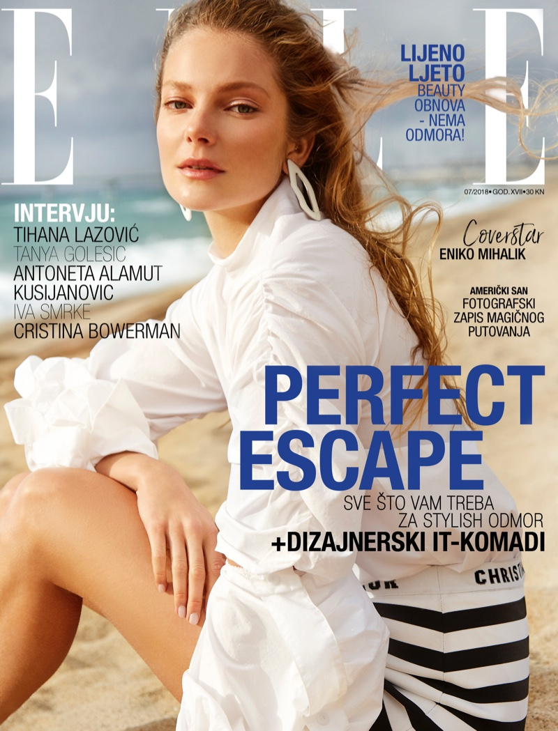 Eniko Mihalik Poses in Designer Swimwear for ELLE Croatia