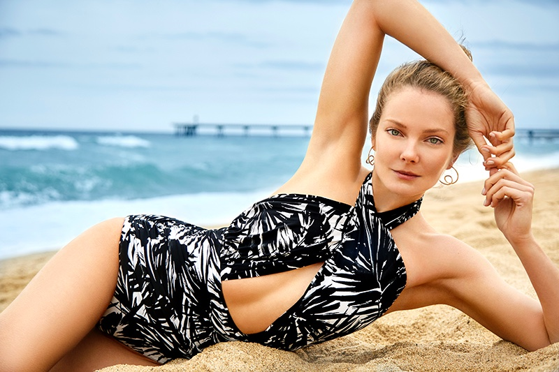 Eniko Mihalik Poses in Designer Swimwear for ELLE Croatia