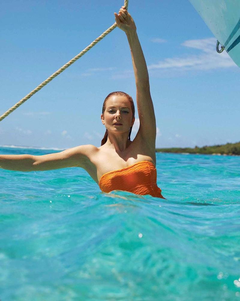 Eniko Mihalik Dives Into Beach Season for Marie Claire France