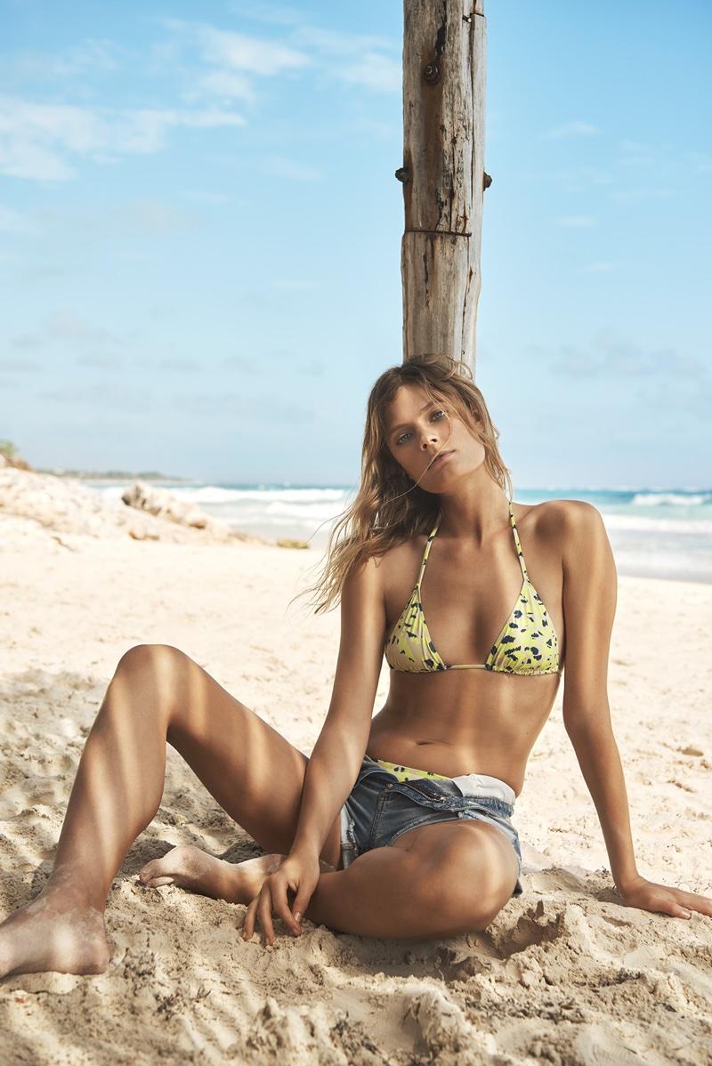 Constance Jablonski models printed bikini for Etam Swim's summer 2018 campaign