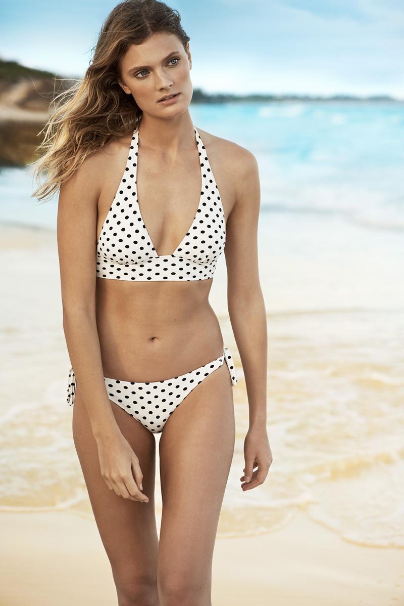 Model Constance Jablonski wears polka dot print bikini for Etam Swim's summer 2018 campaign