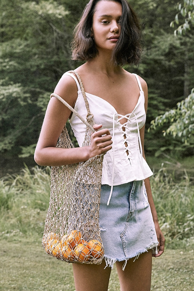 Intimately Free People High Point Tank and Levi's Deconstructed Denim Skirt