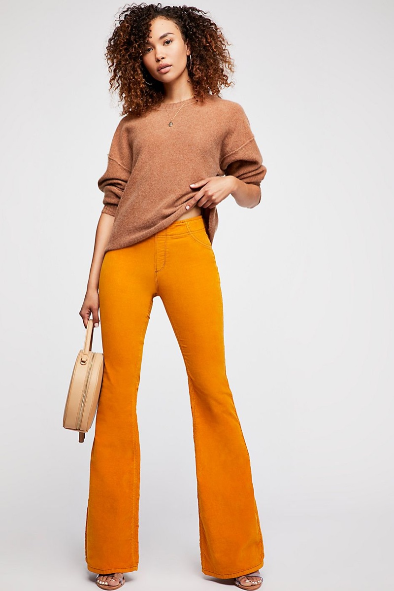 Free People Break Of Dawn Cashmere Sweater and Pull On Corduroy Flare