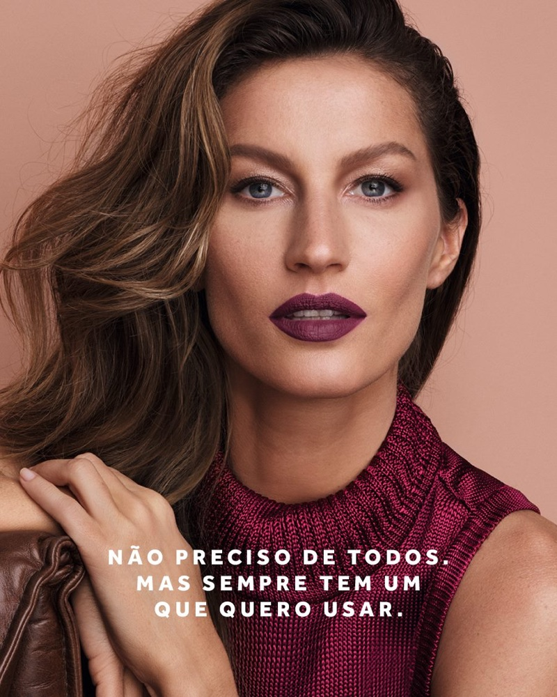 Gisele Bundchen models dark plum lip color for O Boticário beauty campaign