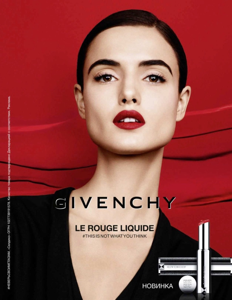 Blanca Padilla wears crimson lipstick for Givenchy Le Rouge Liquide campaign