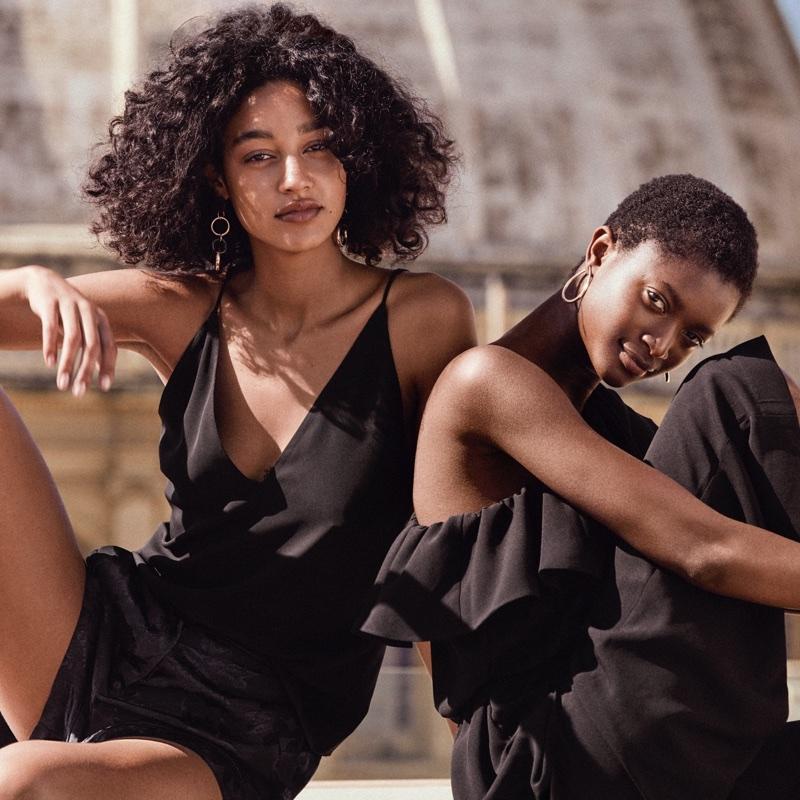 (Left) H&M V-Neck Top and Jacquard-Weave Shorts (Right) H&M One-Shoulder Dress
