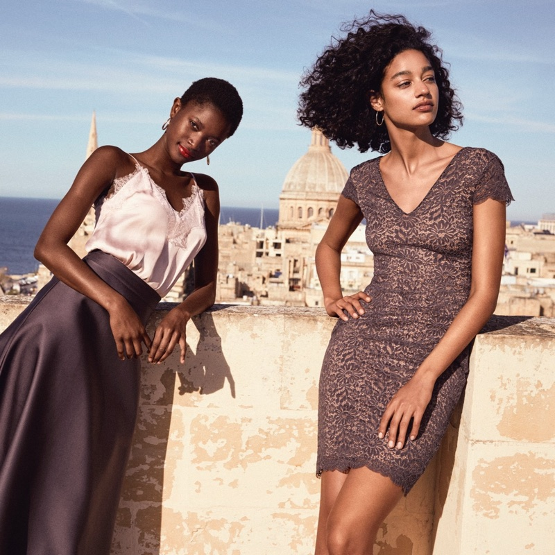 (Left) H&M Satin & Lace Camisole Top and Flared Satin Skirt (Right) H&M Lace V-Neck Dress