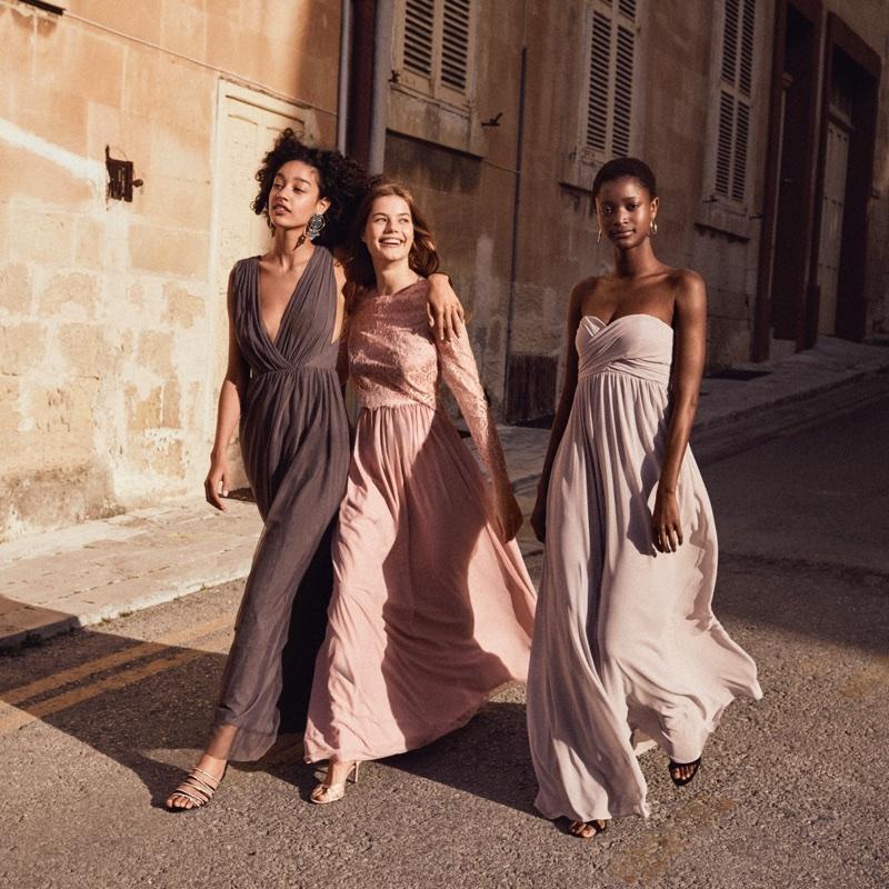 (Left) H&M Long V-Neck Dress (Middle) H&M Lace Blouse and Long Tulle Skirt (Right) H&M Long Bandeau Dress