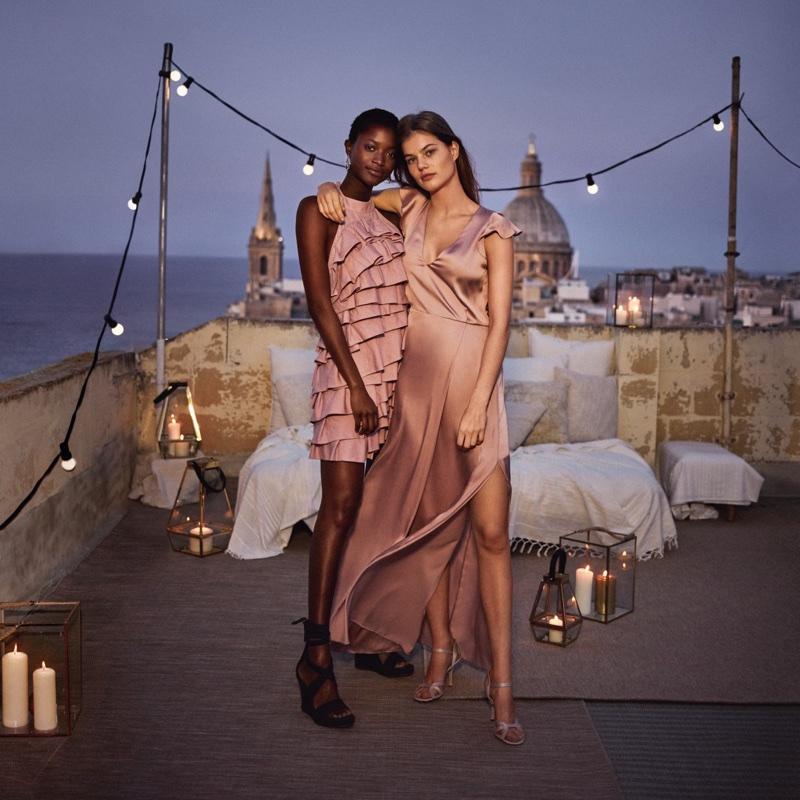 (Left) H&M Short Flounced Dress (Right) H&M Long Satin Dress