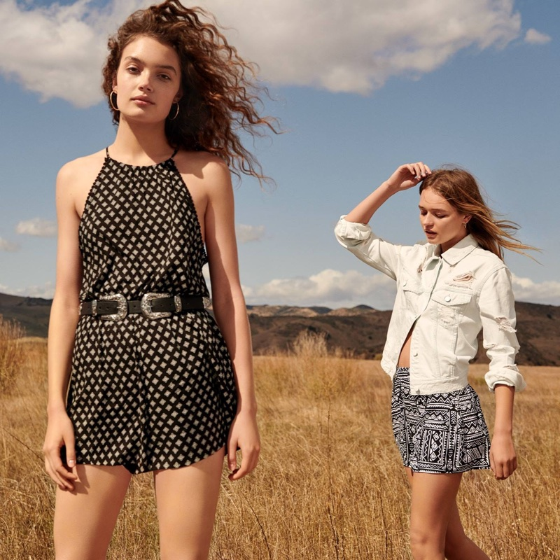 (Left) H&M Sleeveless Romper (Right) H&M Denim Trashed Jacket and Patterned Shorts