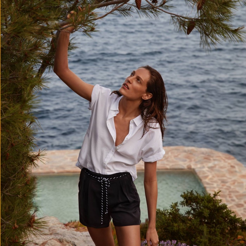 H&M Short-Sleeved Cotton Shirt and Shorts with Tie Belt