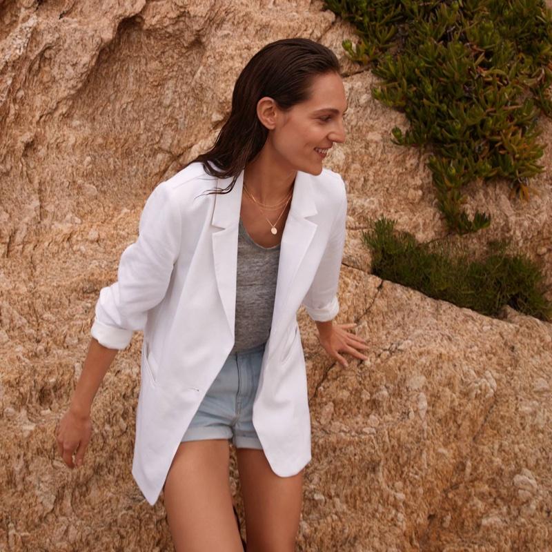 H&M Linen-Blend Jacket, Linen T-Shirt and Denim Shorts