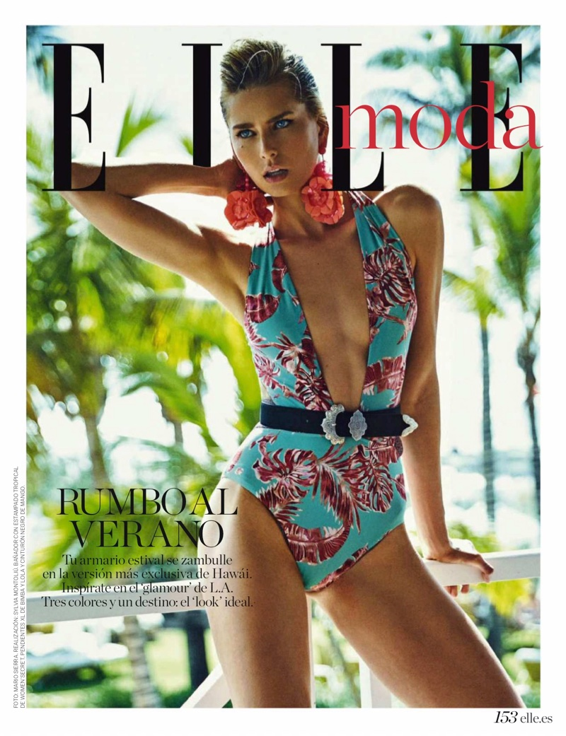 Hana Soukupova Poses in Tropical Swimwear for ELLE Spain