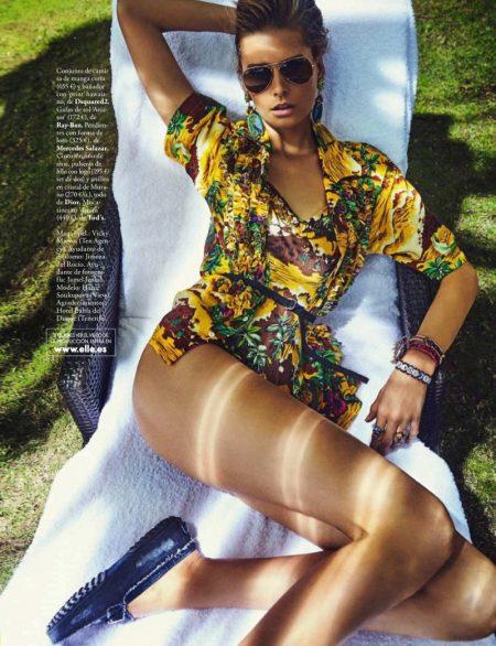 Hana Soukupova Poses in Tropical Swimwear for ELLE Spain