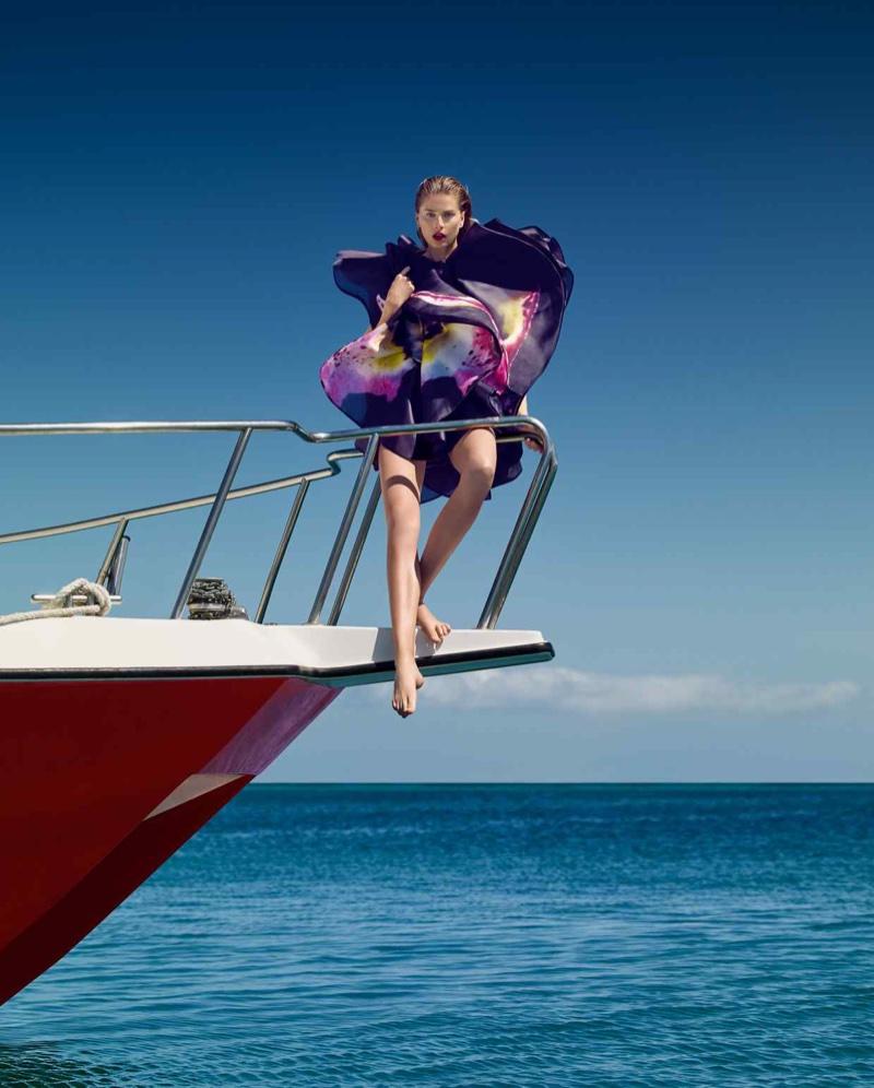 Hana Soukupova Models Romantic Ruffles for How to Spend It