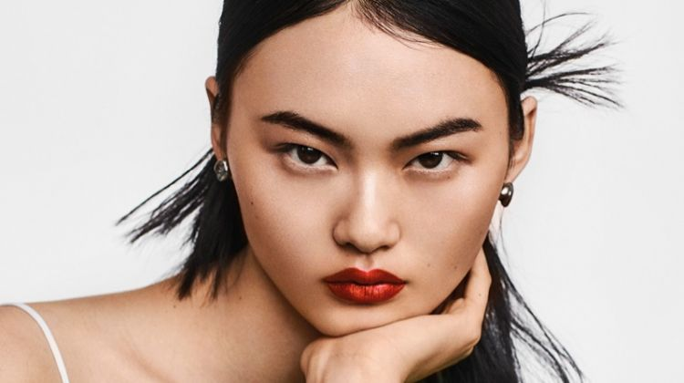 He Cong Models Red-Hot Beauty Looks for Vogue Taiwan