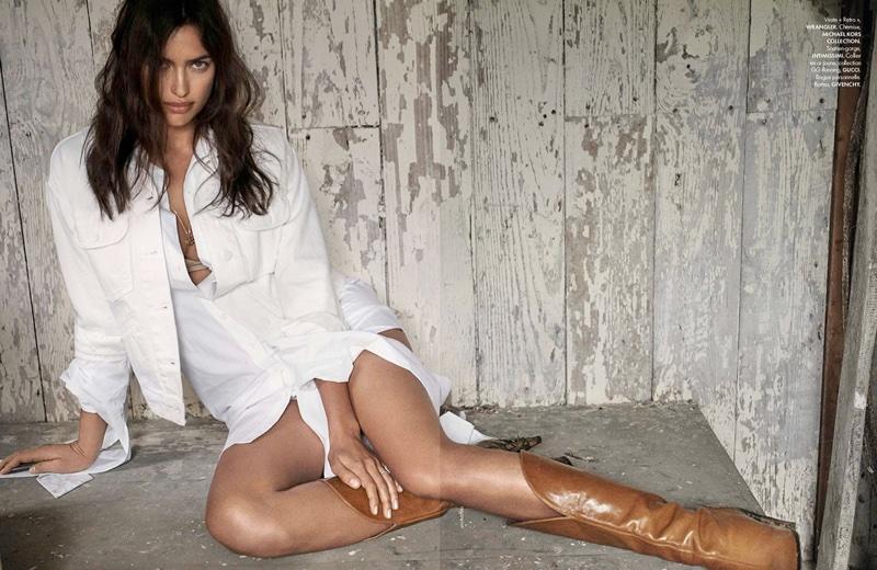Irina Shayk Models Romantic Western Style for ELLE France