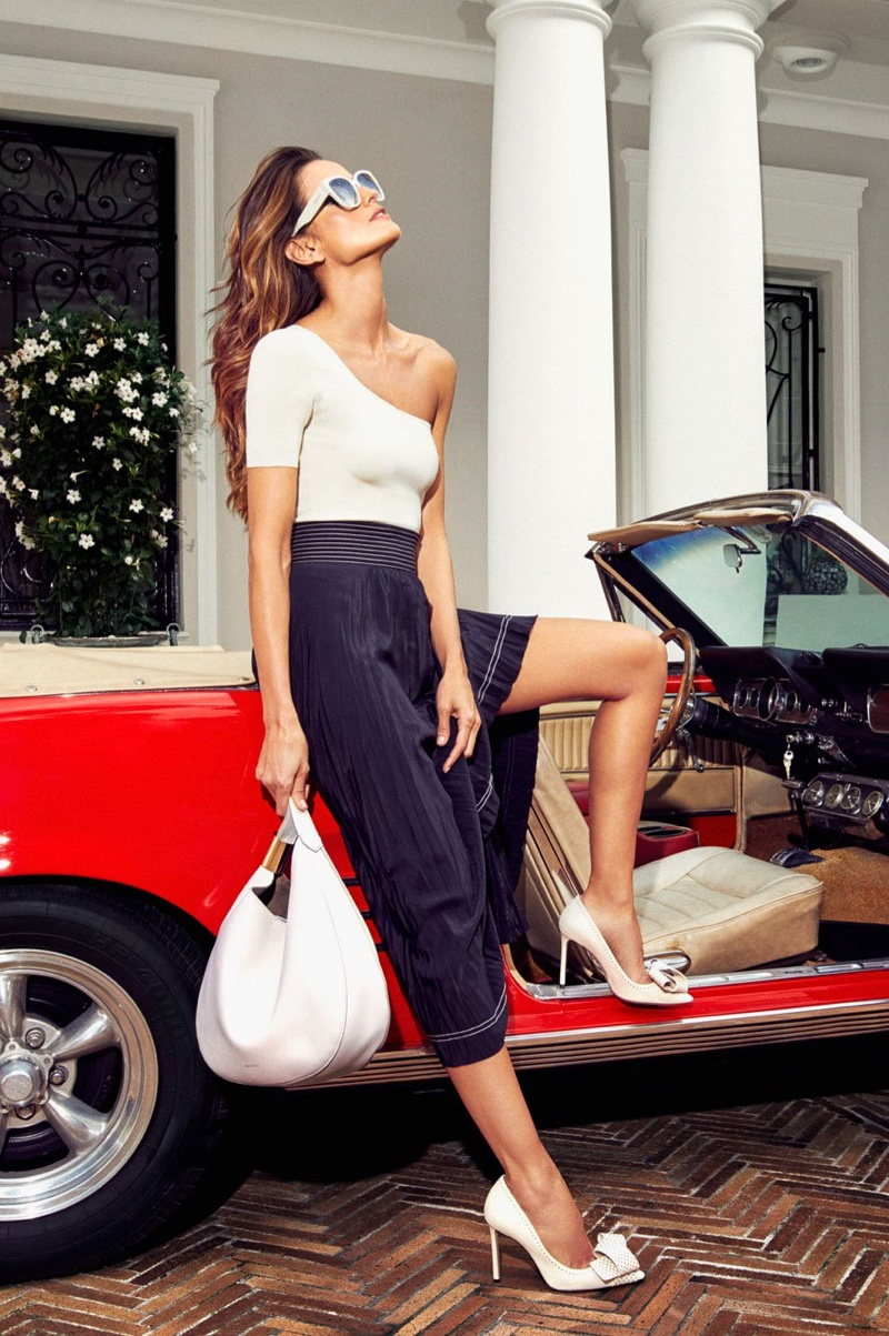 Model Izabel Goulart poses in Jimmy Choo Tegan 100 Pumps