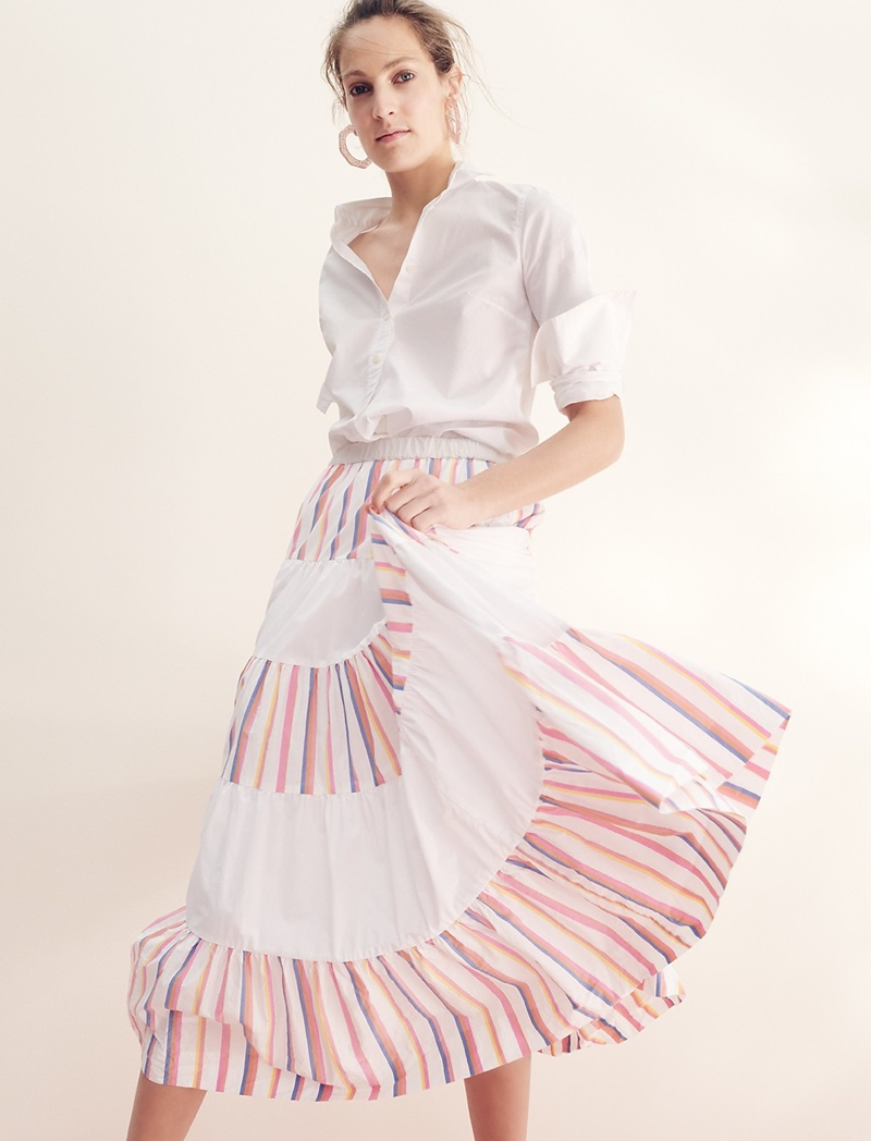 Thomas Mason for J. Crew Boy Shirt and Tiered Midi Skirt in Sorbet Stripe