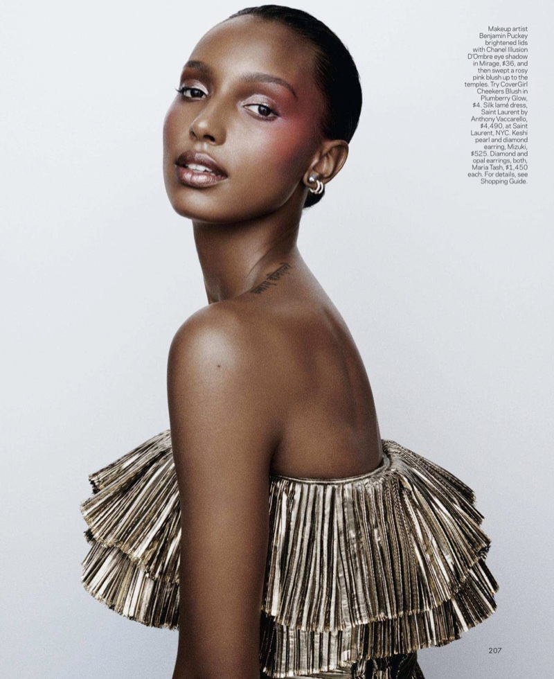 Jasmine Tookes Shines in Shimmery Makeup for ELLE