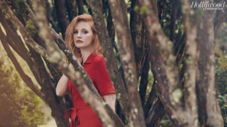 Actress Jessica Chastain wears red dress