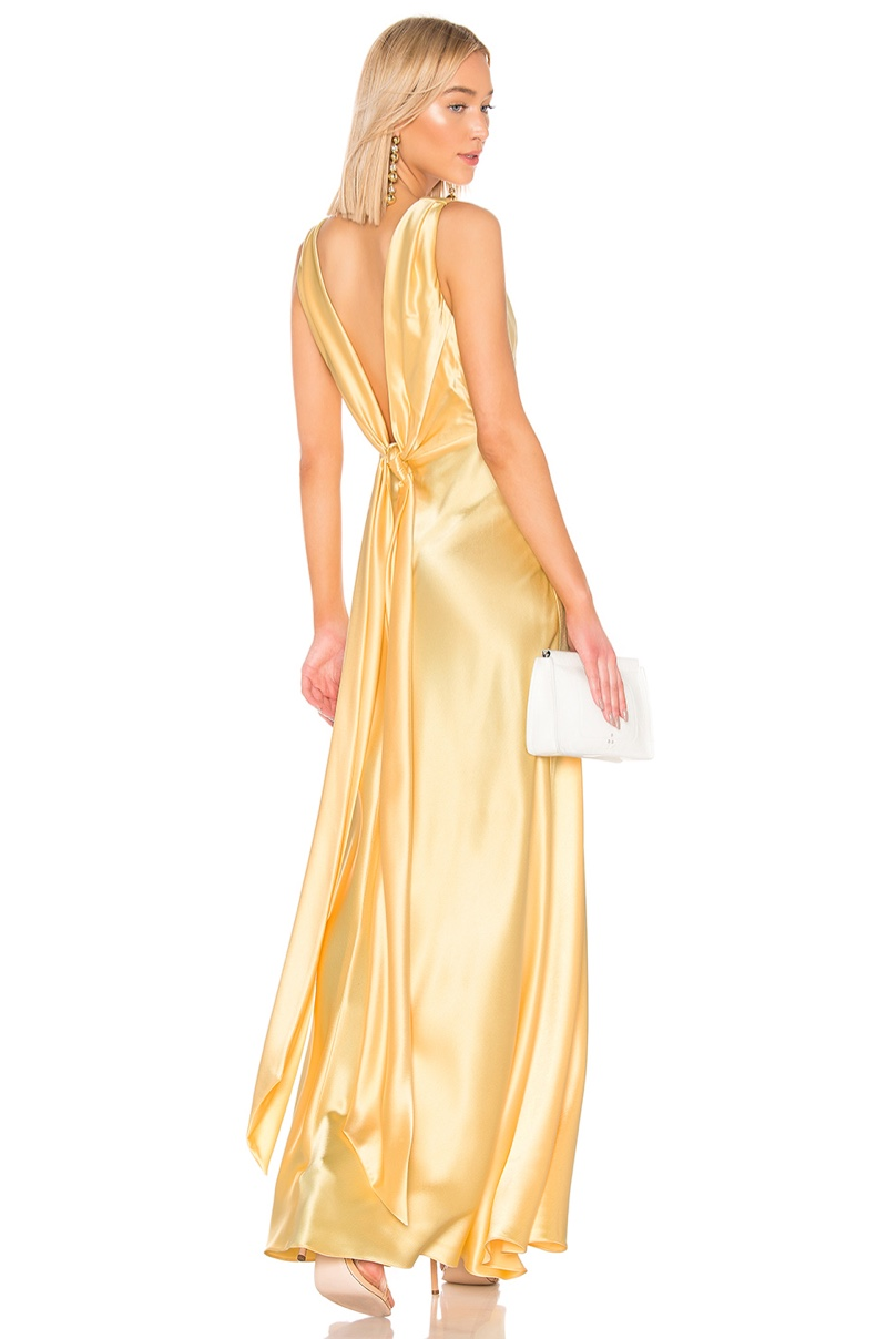 Jill Jill Stuart Front Gathered Gown in Pale Yellow $458
