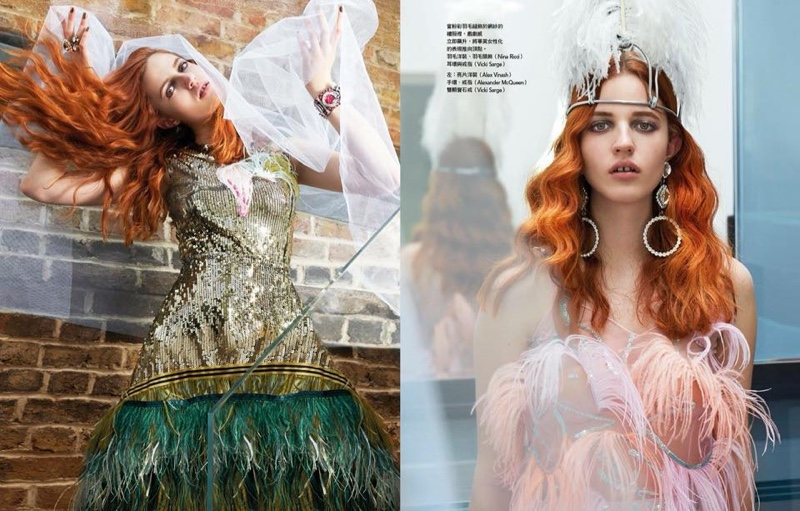 Julia Banas Models Fierce Feathers for Vogue Taiwan