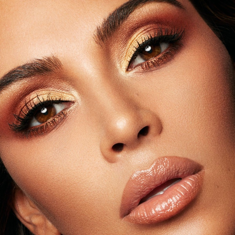 Ready for her closeup, Kim Kardashian wears shimmering eyeshadow from KKW Beauty x Mario campaign