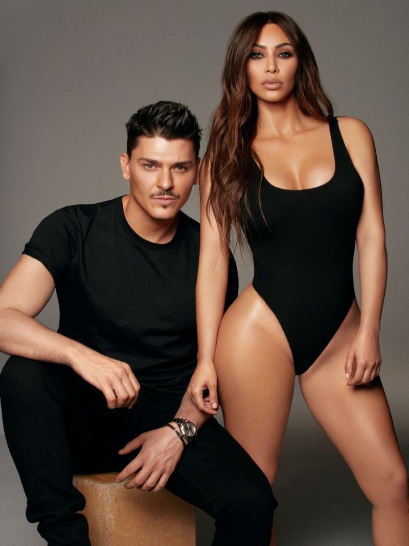 Makeup artist Mario Dedivanovic and Kim Kardashian pose for KKW Beauty x Mario campaign