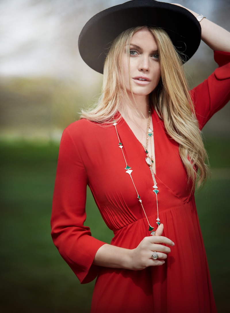 Dressed in red, Kitty Spencer poses for Bulgari jewelry campaign