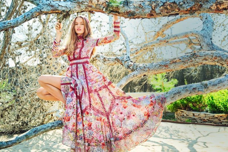Kristina Romanova Wears the Season's Prettiest Dresses for ELLE Russia