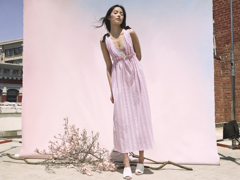 Xiao Wen Ju wears pink dress for La Ligne's summer 2018 campaign
