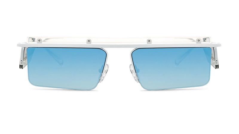Le Specs x Adam Selman The Flex Sunglasses in White with Blue Mirror Lenses $119