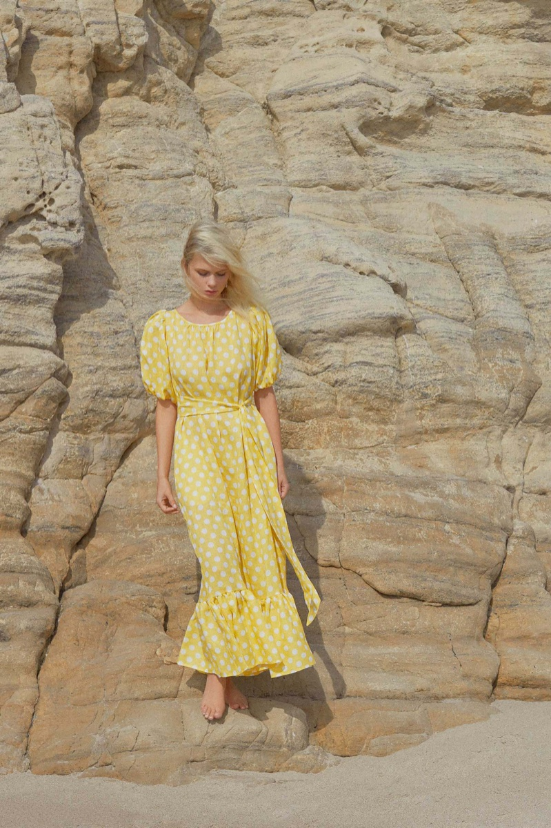 Delilah Parillo models polka dot print prairie dress from Lisa Marie Fernandez's spring 2018 collection