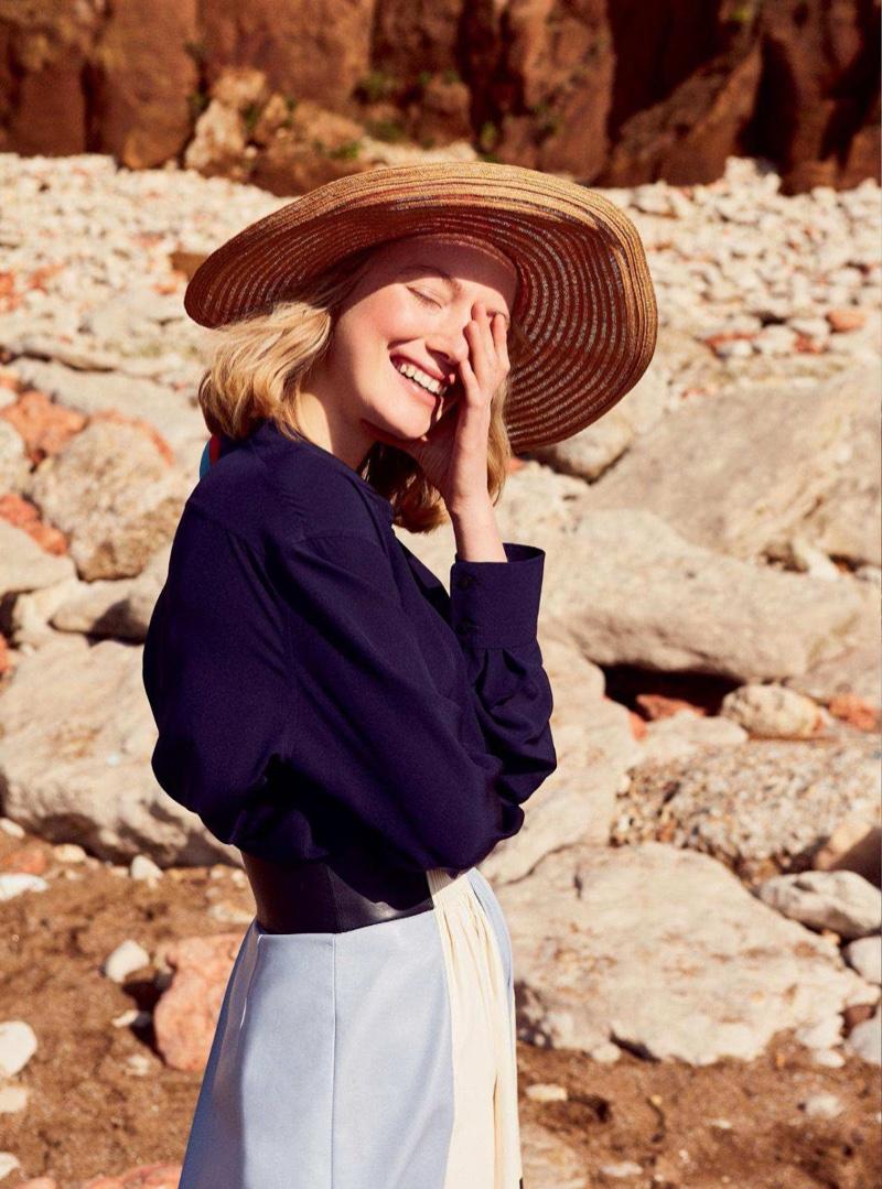 Lou Schoof Wears Getaway Fashions for Harper's Bazaar UK
