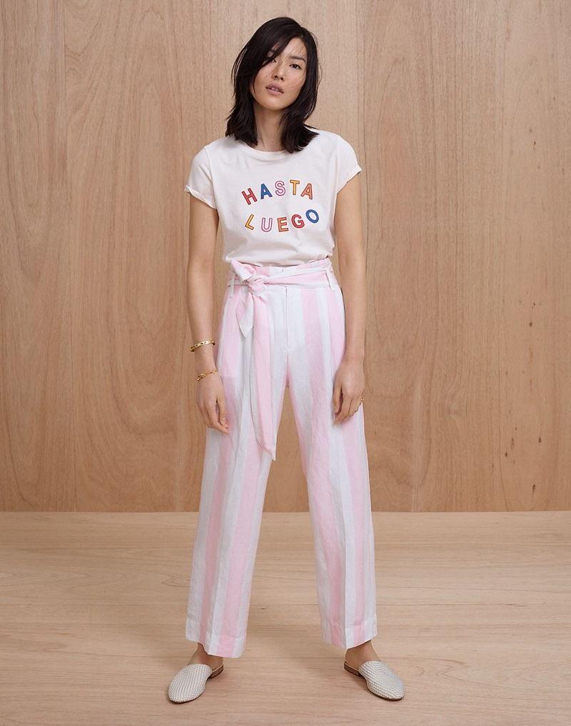 Madewell Hasta Luego Graphic Tee, Striped Paper-Bag Pants and The Cassidy Woven Mule