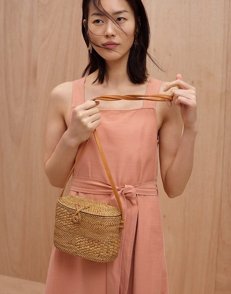 Madewell Apron Tie-Waist Dress, Folk Fortune Bali Rattan Top-Lid Bag and Petalwing Statement Earrings