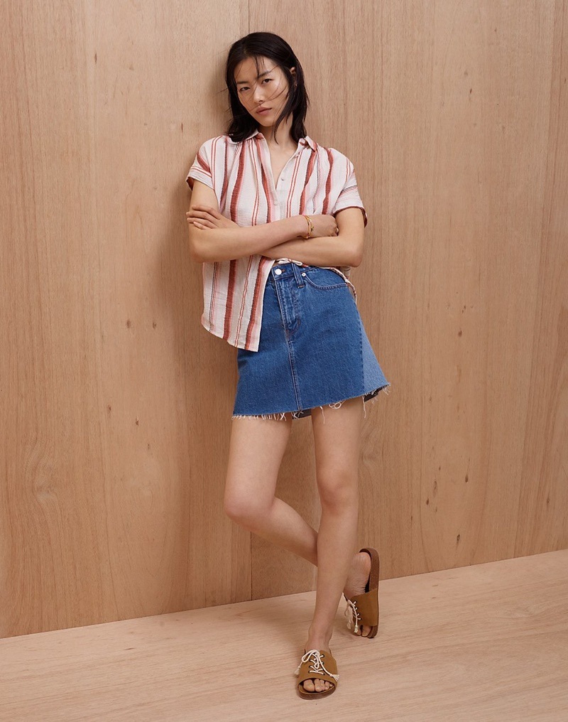 Madewell Central Shirt in Albee Stripe, Rigid Denim A-Line Mini Skirt: Pieced Edition and The Aileen Slide Sandal