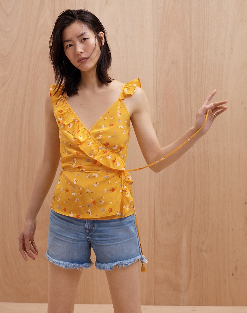 Madewell Silk Wrap Cami Top in Painted Carnations and The Perfect Jean Short: Step-Hem Edition