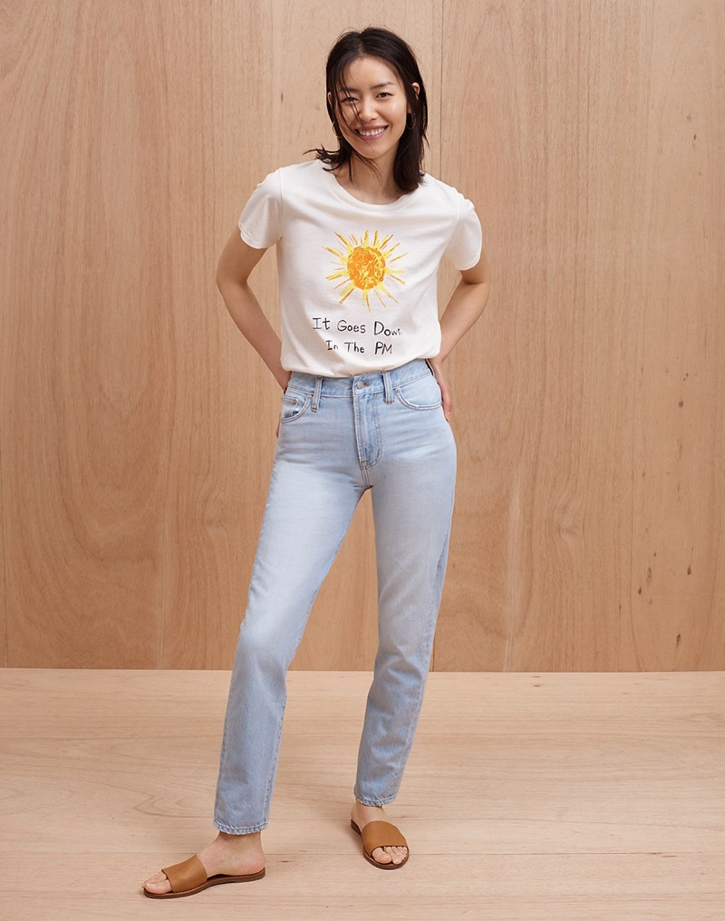 Madewell x Unfortunate Portrait It Goes Down in the PM Tee, The Perfect Summer Jean in Fitzgerald Wash and The Boardwalk Post Slide Sandal