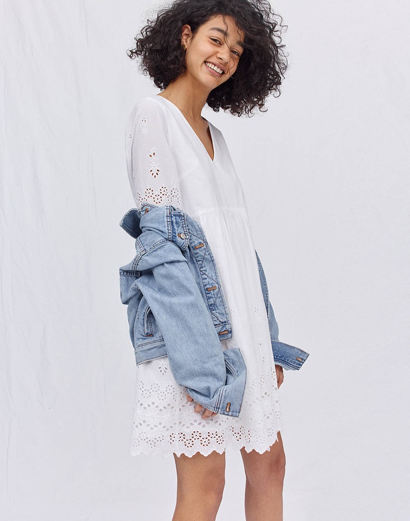 Madewell Eyelet Lattice Dress and The Boxy-Crop Jean Jacket in Fitzgerald Wash