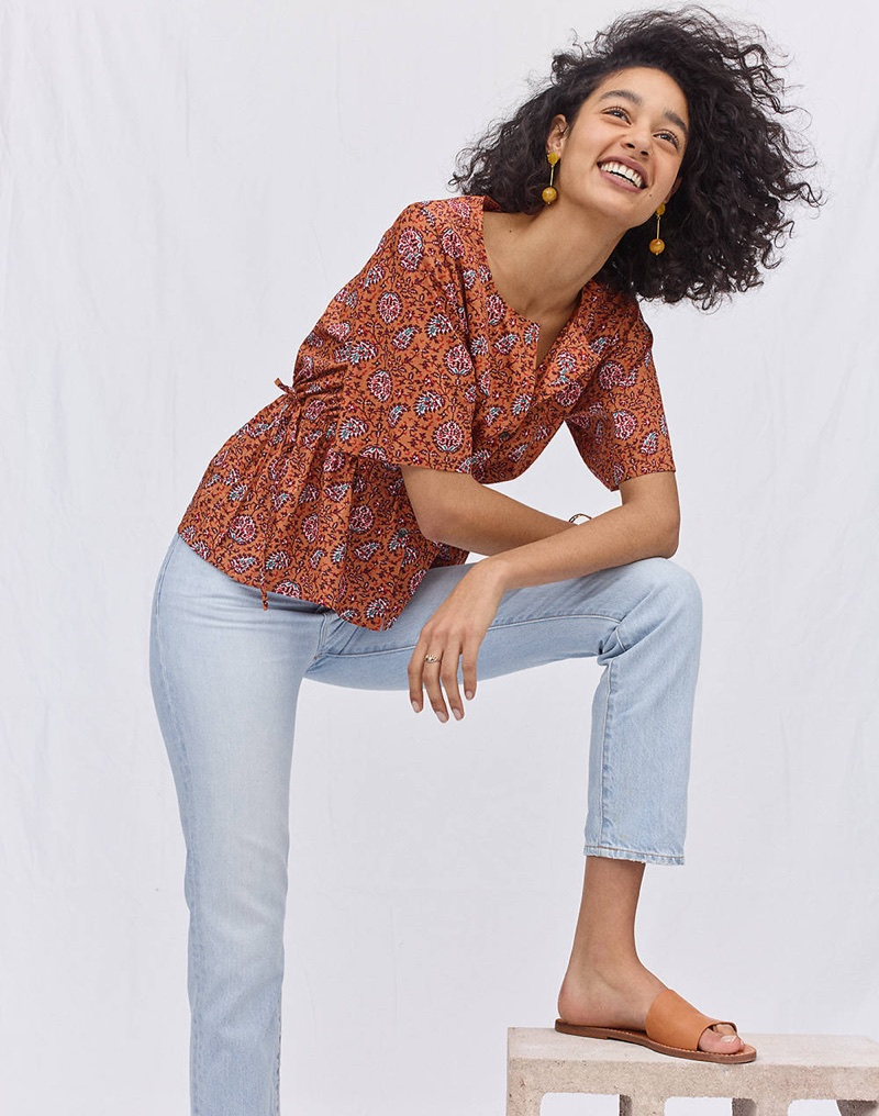 Madewell Drawstring-Waist Shirt in Warm Paisley, The Perfect Summer Jean in Fitzgerald Wash and The Boardwalk Post Slide Sandal