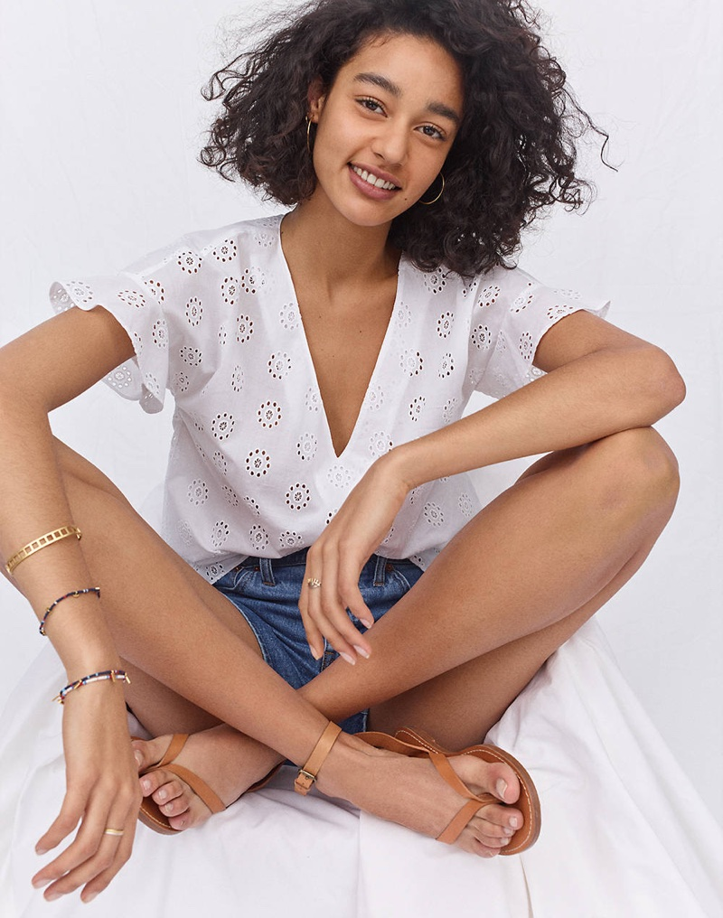Madewell Eyelet Sundrift Ruffle Top, High-Rise Denim Shorts: Pieced Edition and The Boardwalk Thong Sandal