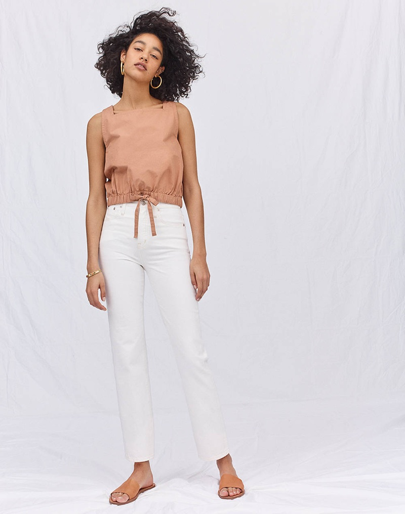 Madewell Square-Neck Bubble Top, Classic Straight Jeans in Tile White and The Boardwalk Post Slide Sandal