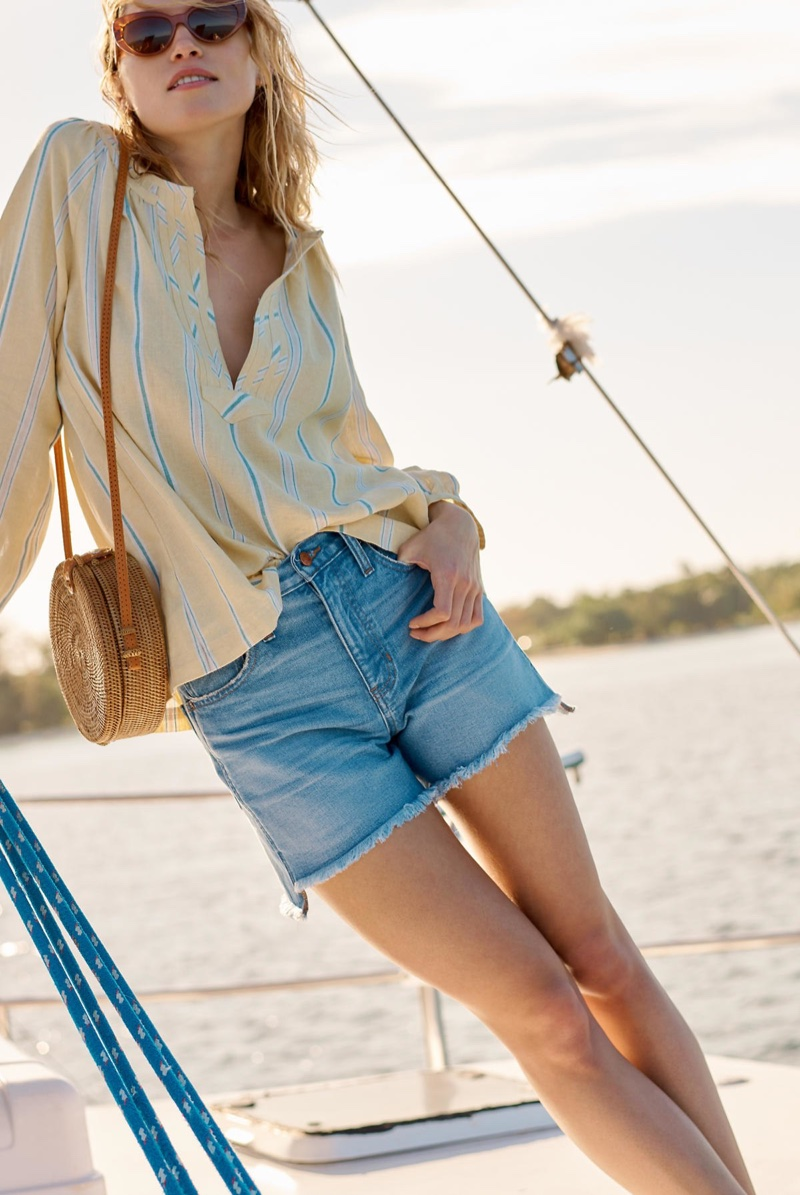 Madewell Tie-Back Peasant Top in Atlantic Stripe and The Perfect Jean Short: Step Hem Edition