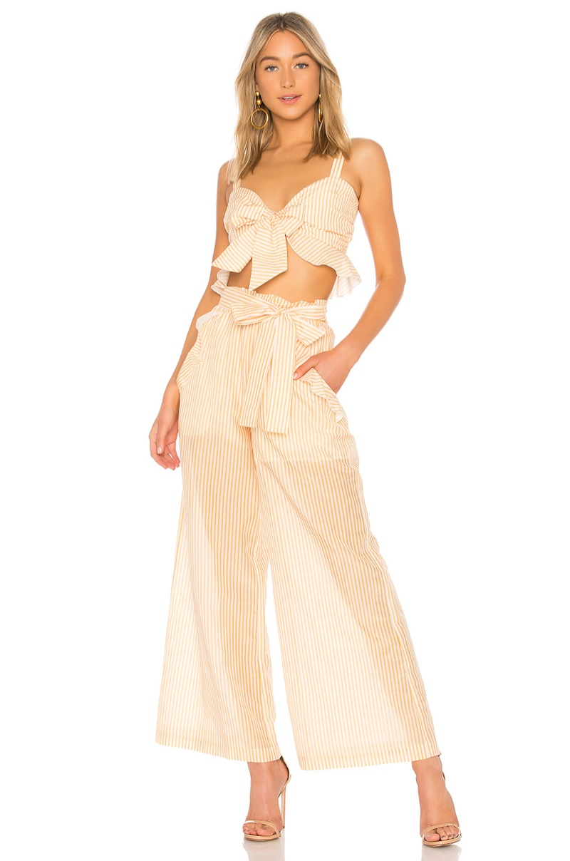 NICHOLAS x REVOLVE Voile Tie Front Top $260 and Voile Frill Pant $348